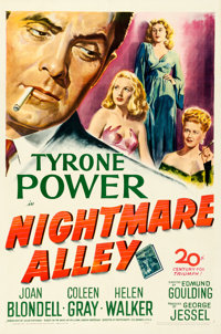 "Nightmare Alley (20th Century Fox, 1947). Very Fine- on Linen. One Sheet (27"" X 41"")"