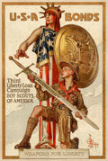 "Movie Posters:War, World War I Propaganda (U.S. Government Printing Office, 1917). Very Fine on Linen. Third Liberty Loan Poster (20"" X 30"") ""W..."
