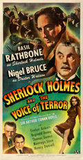 "Movie Posters:Mystery, Sherlock Holmes and the Voice of Terror (Universal, 1942). Fine+ on Linen. Three Sheet (41"" X 79"").. ..."