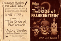 "The Bride of Frankenstein (Universal, 1935). Folded, Fine/Very Fine. Herald (Closed: 7"" X 9.5"", Opened: 14&quo..."