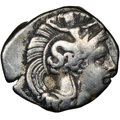 Ancients: CALABRIA. Tarentum. 4th century BC. AR diobol (12mm, 3h). NGC Choice Fine