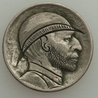 Three Attractive Hobo Nickels. One is clearly a modern two-sided carving by a contemporary artist, perhaps Elmer Villari...