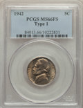 Jefferson Nickels, 1942 5C Type One MS66 Full Steps PCGS. PCGS Population: (52/9). CDN: $300 Whsle. Bid for problem-free NG...