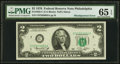Minor Misalignment Third Printing Error Fr. 1935-C $2 1976 Federal Reserve Note. PMG Gem Uncirculated 65 EPQ