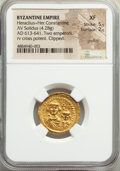 Ancients:Byzantine, Ancients: Heraclius (AD 610-641) and Heraclius Constantine. AV solidus (21mm, 4.28 gm, 6h). NGC XF 5/5 - 2/5, graffito, clipped....
