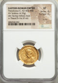 Ancients:Roman Imperial, Ancients: Theodosius II, Eastern Roman Empire (AD 402-450). AV solidus (21mm, 4.33 gm, 6h). NGC XF 4/5 - 2/5, scuffs....