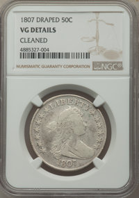 1807 50C Draped Bust -- Cleaned -- NGC Details. VG. NGC Census: (40/849). PCGS Population: (96/1656). VG8 . Mintage 301...