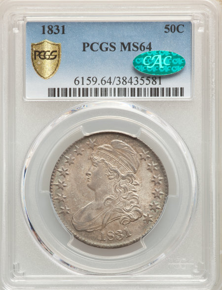 1831 50C, MS CAC PCGS Secure 64 PCGS