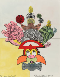Ronnie Cutrone (1948-2013) Your Own Mind, 1987 Screenprint with hand coloring on paper 39-1/2 x 2