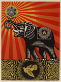 Fine Art - Work on Paper:Print, Shepard Fairey (b. 1970). Obey Elephant, 2009. Screenprint in colors on speckled cream paper. 24 x 18 inches (61 x 45.7 ...