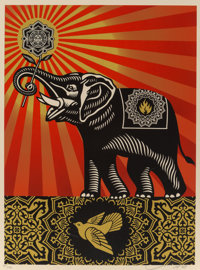 Shepard Fairey (b. 1970) Obey Elephant, 2009 Screenprint in colors on speckled cream paper 24 x 1