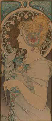Alphonse Mucha (Czech, 1860-1939) Feather, 1899 Lithograph in colors on paper 28 x 10-7/8 inches