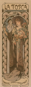 Prints & Multiples, Alphonse Mucha (Czech, 1860-1939). La Tosca, 1899. Lithograph in colors on paper. 40-1/2 x 14-1/8 inches (102.9 x 35.9 c...