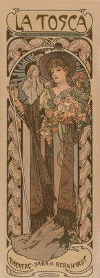 Alphonse Mucha (Czech, 1860-1939) La Tosca, 1899 Lithograph in colors on paper 40-1/2 x 14-1/8 in