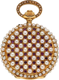Swiss, Ruby & Pearl Miniature Hunters Case For The Chinese Market, circa 1905