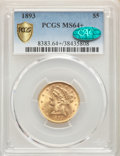 Liberty Half Eagles, 1893 $5 MS64+ PCGS. CAC. PCGS Population: (316/42 and 30/2+). NGC Census: (766/77 and 22/7+). CDN: $650 Whsle. Bid for prob...