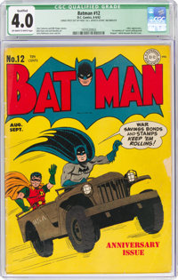 Batman #12 (DC, 1942) CGC Qualified VG 4.0 Off-white to white pages