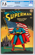 Golden Age (1938-1955):Superhero, Superman #24 (DC, 1943) CGC VF- 7.5 Off-white to white pages....