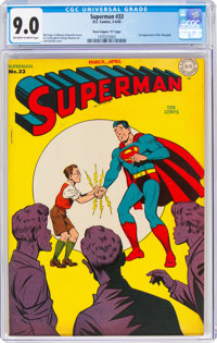 "Superman #33 Davis Crippen (""D"" Copy) Pedigree (DC, 1945) CGC VF/NM 9.0 Off-white to white pages"