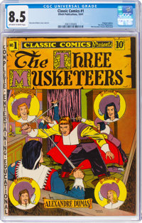 Classic Comics #1 The Three Musketeers - First Edition (Elliott Publications, 1941) CGC VF+ 8.5 Off-white to white pages...