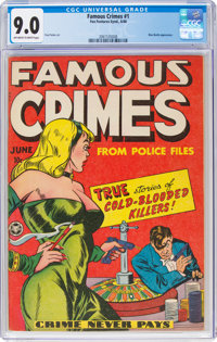 Famous Crimes #1 (Fox Features Syndicate, 1948) CGC VF/NM 9.0 Off-white to white pages