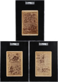 Baseball Cards:Lots, C. 1880 Christo Von Buffalo Baseball Cartoon Commentary Cabinet Cards SGC-Trio (3). ...