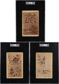 C. 1880 Christo Von Buffalo Baseball Cartoon Commentary Cabinet Cards SGC-Trio (3)