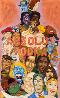 "Chris ""DAZE"" Ellis (b. 1962) Absolut Vodka, 1992 Oil on canvas 65-5/8 x 40 inches (166.7 x 101.6"