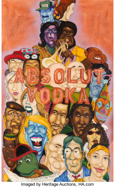 "Chris ""DAZE"" Ellis (b. 1962)Absolut Vodka, 1992Oil on canvas65-5/8 x 40 inches (166.7 x 101.6 cm)Signed and date..."