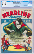 Golden Age (1938-1955):Superhero, Headline Comics #8 (Prize, 1944) CGC VF- 7.5 Cream to off-white pages....