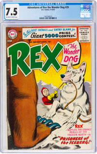 Adventures of Rex the Wonder Dog #29 (DC, 1956) CGC VF- 7.5 Off-white to white pages
