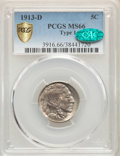Buffalo Nickels, 1913-D 5C Type One MS66 PCGS. CAC. PCGS Population: (477/84). NGC Census: (179/25). CDN: $450 Whsle. Bid for problem-free N...