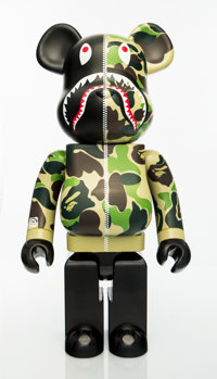BE@RBRICK X BAPE Shark Hoodie 1000% (Green), 2015 Painted cast resin 28 x 13-1/2 x 9 inches (71.1