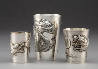 A Group of Three Chinese Export Silver Cups, late 19th-early 20th century Marks to one: (maker's mark), SILVER