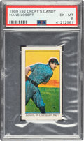 Baseball Cards:Singles (Pre-1930), 1909 E92 Croft's Candy Hans Lobert (Black) PSA EX-MT 6 - The Only PSA Graded Example! ...