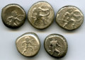Ancients:Ancient Lots  , Ancients: ANCIENT LOTS. Greek. Pamphylia. Aspendus. Ca. mid-5th century BC. Lot of five (5) AR staters. Fine-About VF.... (Total: 5 coins)