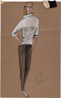 Movie/TV Memorabilia:Original Art, Edith Head Artwork (2) for The Sting (1973). ...