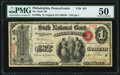 National Bank Notes:Pennsylvania, Philadelphia, PA - $1 Original Fr. 380a The Sixth National Bank Ch. # 352 PMG About Uncirculated 50.. ...