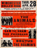 "Music Memorabilia:Posters, The Animals ""House of the Rising Sun"" 1966 Jumbo Globe Concert Poster..."