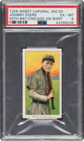 Baseball Cards:Singles (Pre-1930), 1909-11 T206 Sweet Caporal 350/30 Johnny Evers (With Bat, Chicago on Shirt) PSA EX-MT 6. ...