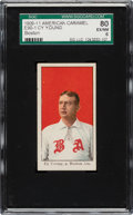 Baseball Cards:Singles (Pre-1930), 1909-11 E90-1 American Caramel Cy Young (Boston) SGC 80 EX/NM 6 - Pop Three, None Higher....