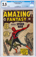 Silver Age (1956-1969):Superhero, Amazing Fantasy #15 (Marvel, 1962) CGC GD+ 2.5 Cream to off-white pages....