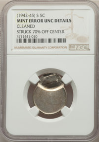 San Francisco Mint War Nickel -- Struck 70% Off Center, Cleaned -- NGC Details. Unc