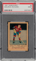 Hockey Cards:Singles (Pre-1960), 1951 Parkhurst Maurice Richard #4 PSA Mint 9 - Pop Five, None Higher....