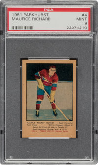 1951 Parkhurst Maurice Richard #4 PSA Mint 9 - Pop Five, None Higher