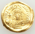 Ancients:Byzantine, Ancients: Justinian I the Great (AD 527-565). AV solidus (21mm, 4.35 gm, 6h). VF, bent, marks, clipped....