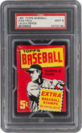 Baseball Cards:Unopened Packs/Display Boxes, 1961 Topps Baseball (1st/2nd Series) Unopened 5-Cent Wax Pack PSA Mint 9. ...