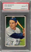 Baseball Cards:Singles (1950-1959), 1952 Bowman Yogi Berra #1 PSA NM-MT 8....