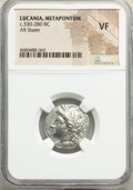 Ancients:Greek, Ancients: LUCANIA. Metapontum. Ca. 330-280 BC. AR stater or nomos (20mm, 10h). NGC VF....