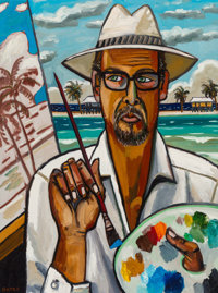 David Bates (American, b. 1952) Self Portrait - Gulf Coast, 2005 Oil on canvas laid on panel 40 x